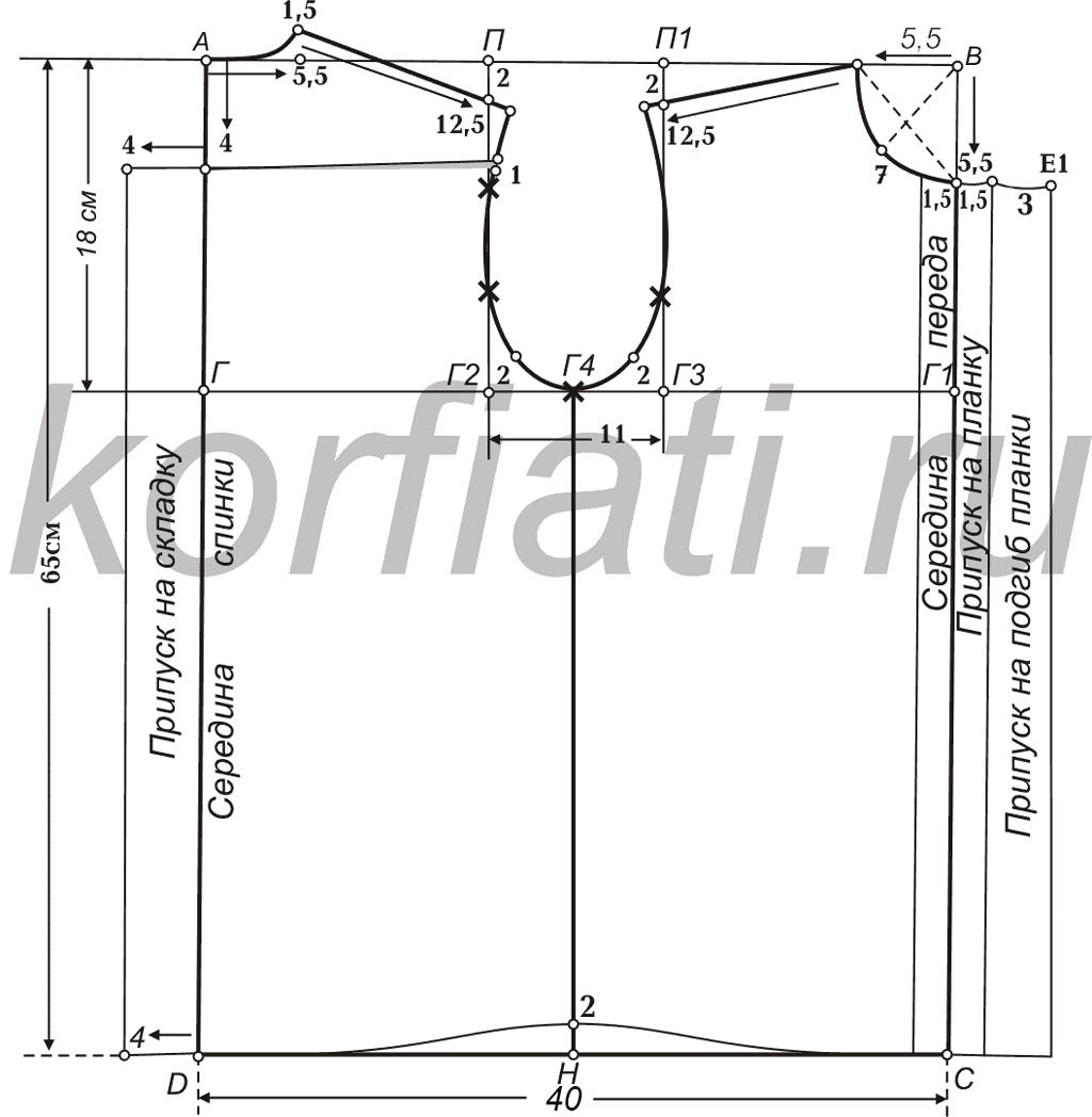 Данная методика построения выкройки рубашки для мальчика Пошаговое построение выкройки
