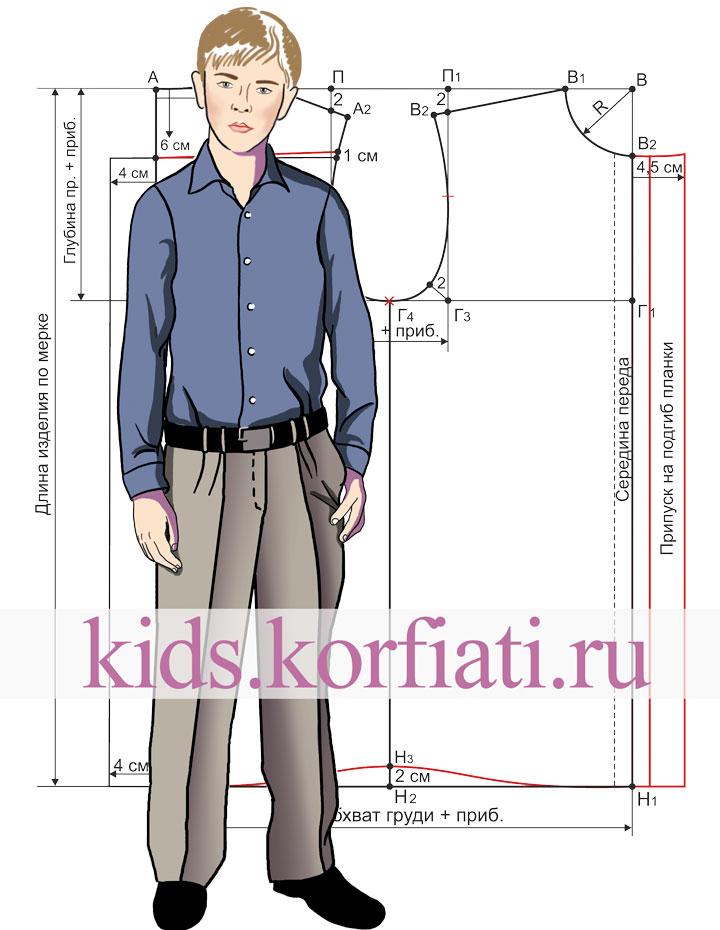 Выкройка рубашки для мальчика эскиз