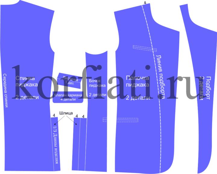 Детали кроя пиджака для мальчика