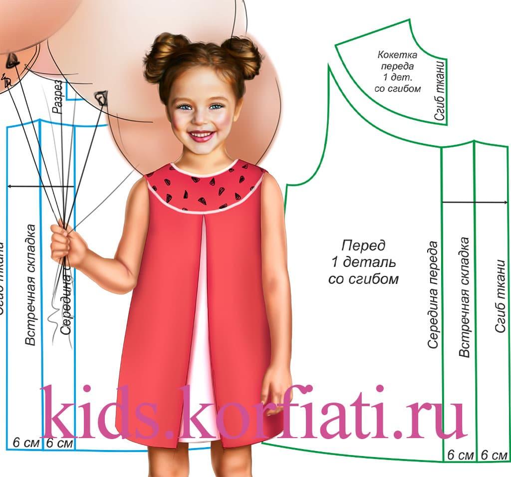 Как сшить кокетку для детского платья