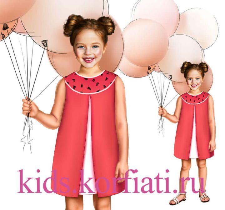 Платье с кокеткой для девочки