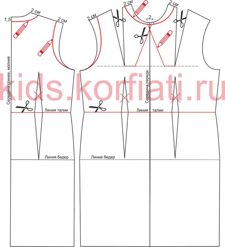Выкройка нарядного платья для девочки. Моделирование лифа платья