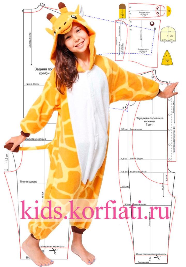 Выкройка пижамы кигуруми