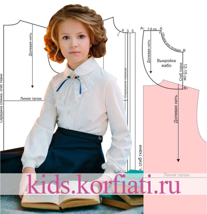 Выкройка школьной блузки для девочки