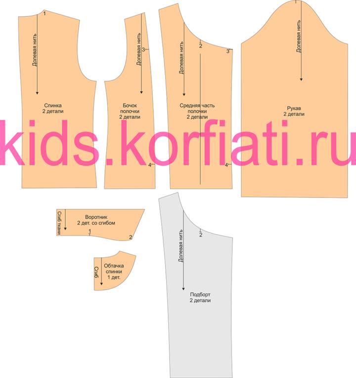 Детали выкройки трикотажного жакета для девочки