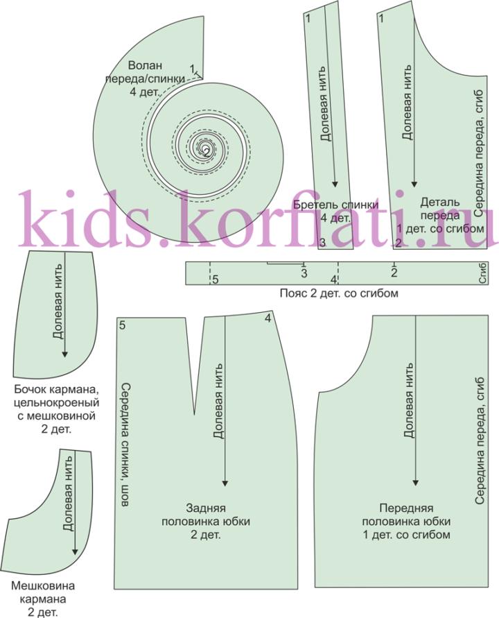 Выкройка школьного сарафана - детали кроя