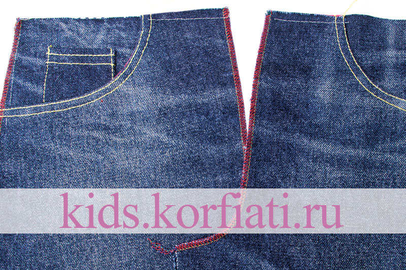 Технология обработки карманов на детских джинсах
