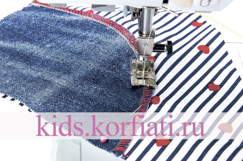 Обработка кармана с отрезным бочком на детских джинсах