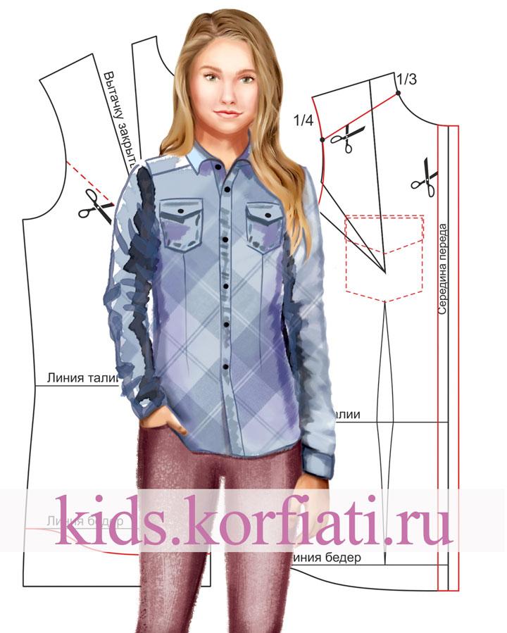 Выкройка рубашки для девочки-подростка рисунок