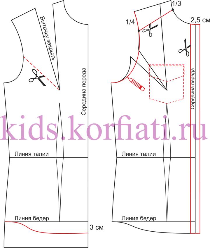 Моделирование полочки рубашкидля девочки-подростка