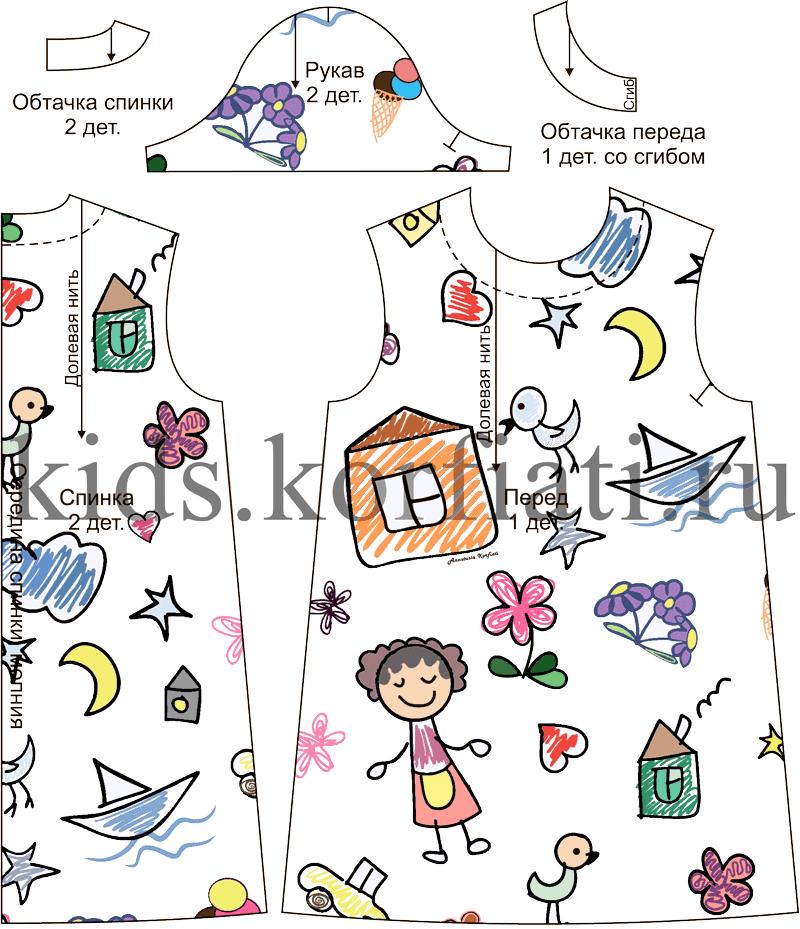 Детали кроя детского платья-трапеция